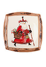 Old St. Nick Santa Square Platter 12-in.