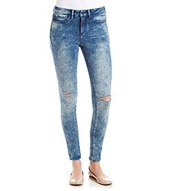 Suede Acid Wash Skinny Jeans
