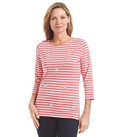 Ruby Rd. Embellished Stripe Knit Top