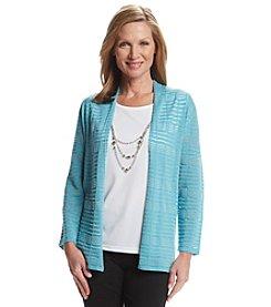 Alfred Dunner Crystal Springs Broken Stripe Layered Look Sweater