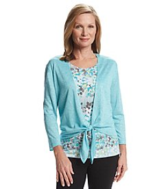 Alfred Dunner® Crystal Springs Tie Front Layered Look Sweater