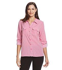 Notations® Stripe Button Up Shirt
