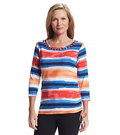 Ruby Rd.® Embellished Stripe Knit Top