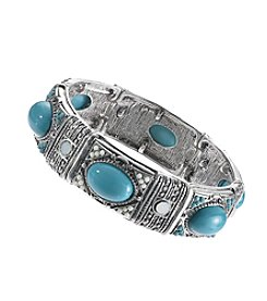 Relativity® Silvertone and Teal Stretch Bracelet