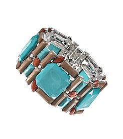 Relativity® Silvertone and Multi Stone Stretch Bracelet