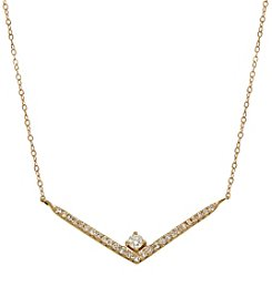 Diamond Chevron Necklace In 10k Yellow Gold