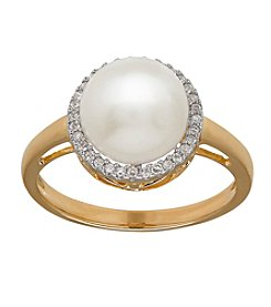 Fine Jewelry Pearl and Diamond Ring in 10k Yellow Gold