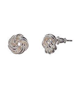 Napier® Silvertone Small Post Knot Earrings