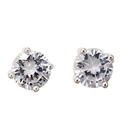 Napier® Silvertone 8mm Cubic Zirconia Stud Earrings