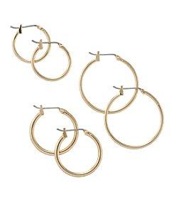 Napier® Goldtone Trio Of Small Hoop Earrings