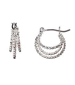 Napier® Silvertone 3 Row Hoop Earrings