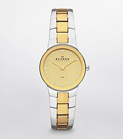 Skagen Denmark Women's Stine Two Tone Watch with Metal Link Bracelet