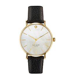 kate spade new york® Goldtone Metro Black Leather Watch