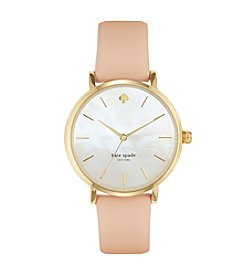 kate spade new york® Goldtone Metro Vachetta Leather Watch
