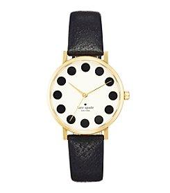 kate spade new york® Goldtone Metro Dot Black Leather Watch