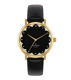 kate spade new york® Goldtone Metro Scallop Black Patent Leather Watch