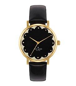 kate spade new york® Goldtone Metro Scallop Black Patent Leather Watch