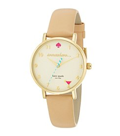 kate spade new york® Goldtone Metro 5 O'Clock Somewhere Vachetta Leather Watch