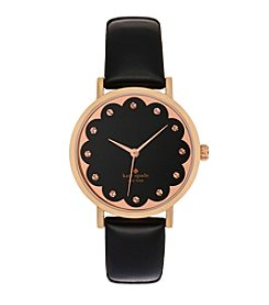 kate spade new york® Rose Goldtone Metro Scallop Black Leather Watch