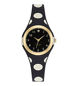 kate spade new york® Goldtone Rumsey Black And White Polka Dot Silicone Watch
