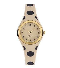 kate spade new york® Goldtone Rumsey Beige And Black Polka Dot Silicone Watch