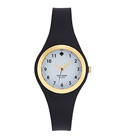 kate spade new york® Goldtone Rumsey Black Silicone Watch