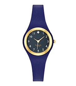 kate spade new york® Goldtone Rumsey Navy Silicone Watch