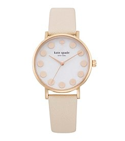 kate spade new york® Rose Goldtone Metro Dot Vachetta Leather Watch