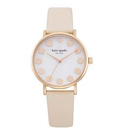 kate spade new york® Rose Goldtone Metro Dot Vachetta Leather Watch
