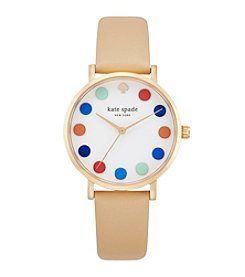 kate spade new york® Goldtone Metro Dot Vachetta Leather Watch
