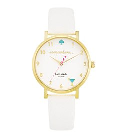 kate spade new york® Goldtone Metro 5 O'clock Somewhere White Leather Watch