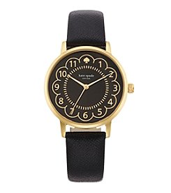 kate spade new york® Goldtone Metro Scallop Black Leather Watch