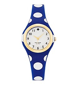 kate spade new york® Goldtone Rumsey Blue And White Polka Dot Silicone Watch