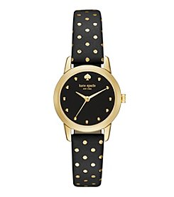 kate spade new york® Goldtone Metro Mini Dot Black Leather Watch