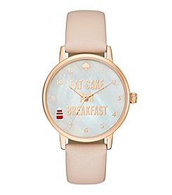 kate spade new york® Rose Goldtone Metro Eat Cake For Breakfast Vachetta Leather Watch