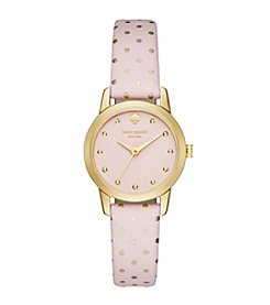 kate spade new york® Goldtone Metro Mini Dot Pink Leather Watch