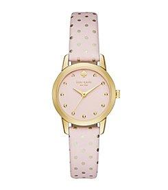 kate spade new york® Goldtone Metro Mini Dot Pink Leather Watch