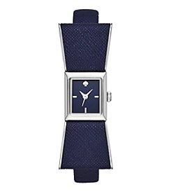 kate spade new york® Silvertone Kenmare Navy Leather Watch