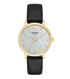 kate spade new york® Goldtone Metro Monogram Black Leather Watch