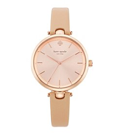 kate spade new york® Rose Goldtone Holland Vachetta Leather Watch
