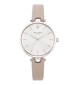 kate spade new york® Silvertone Holland Clocktower Grey Leather Watch