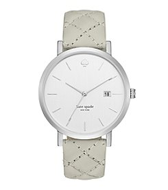 kate spade new york® Silvertone Metro Grand Clocktower Grey Quilted Leather Watch
