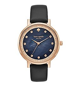 kate spade new york™ Rose Goldtone Monterey Black Leather Watch