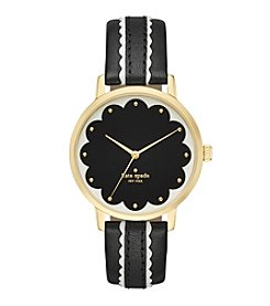 kate spade new york® Goldtone Metro Scallop Black And White Leather Watch