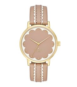 kate spade new york® Metro Scallop Vachetta And White Leather Watch