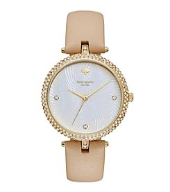 kate spade new york® Goldtone Eldridge Vachetta Leather Watch