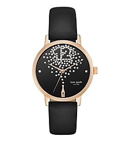 kate spade new york® Rose Goldtone Metro Champagne Black Leather Watch