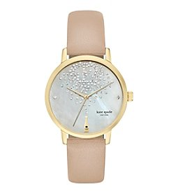 kate spade new york® Goldtone Metro Champagne Vachetta Leather Watch