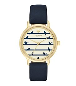 kate spade new york® Goldtone Metro Birds On A Wire Navy Leather Watch