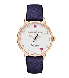 kate spade new york® Women's Rose Goldtone Metro 5 O'clock Somewhere Navy Leather Watch